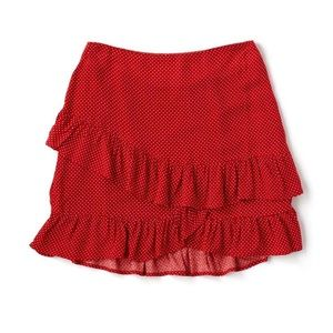 Red Polka Dot Ruffle Skirt by LOST + WANDER